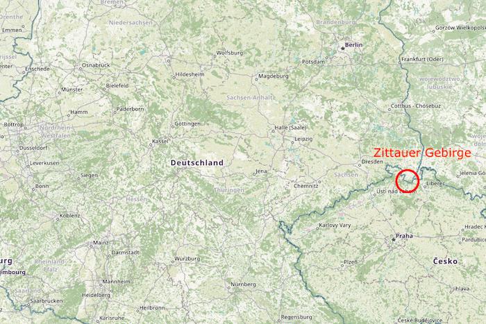 Lage des Zittauer Gebirges in Deutschland