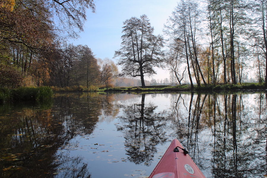 Im Kayak auf dem Südumfluter, Spreewald