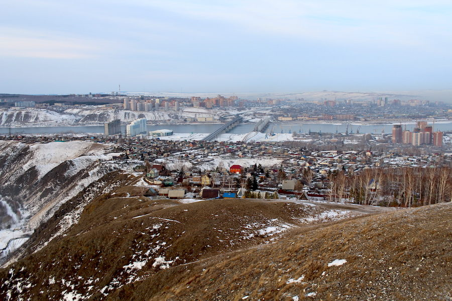 View over parts of Krasnoyarsk in January