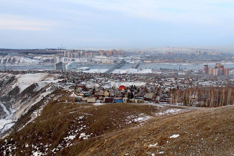 View over parts of Krasnoyarsk in January