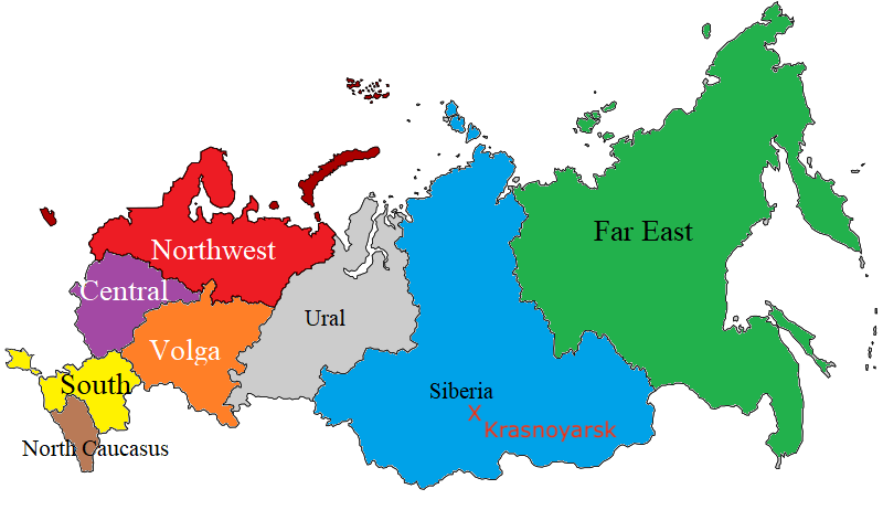 The federal districts of Russia