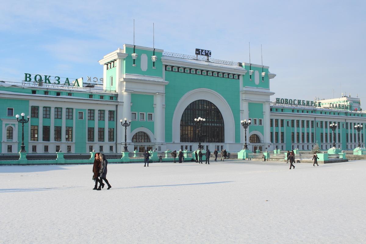 -14°C am frühen Morgen am Bahnhof Nowosibirsk