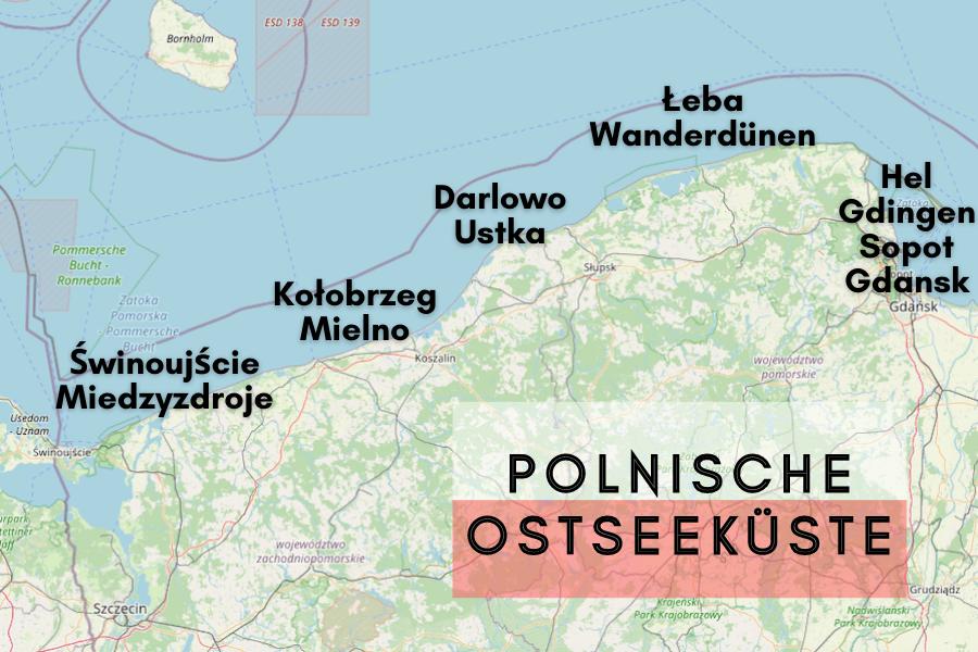 Karte der polnischen Ostseeküste