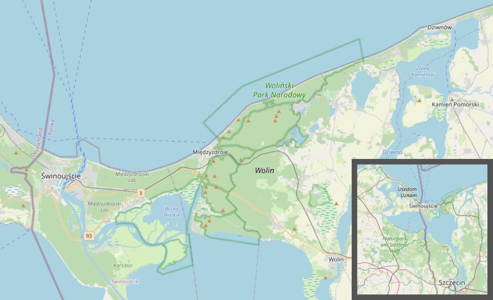 Lage der Insel Wolin an der polnischen Ostseeküste