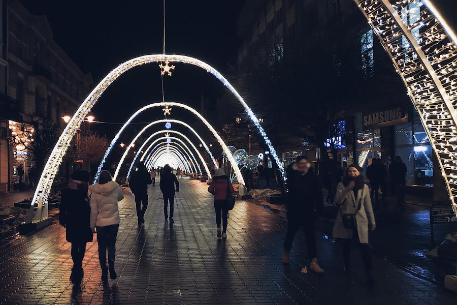 Weihnachtliche Innenstadt Ivano-Frankivsks