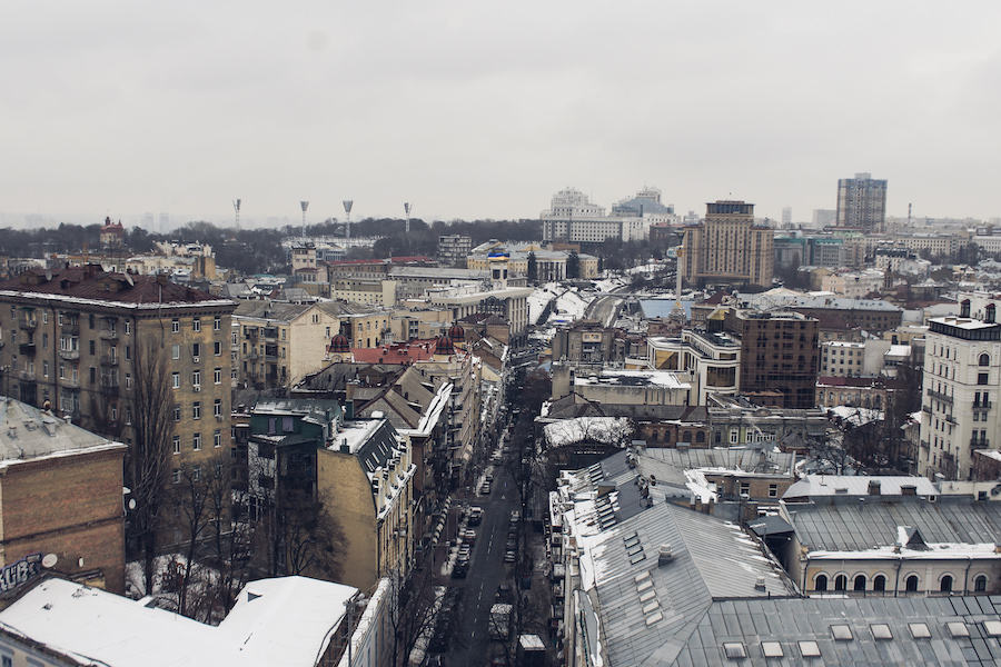 Innenstadt Kiews, am Horizont das Stadion «Динамо»