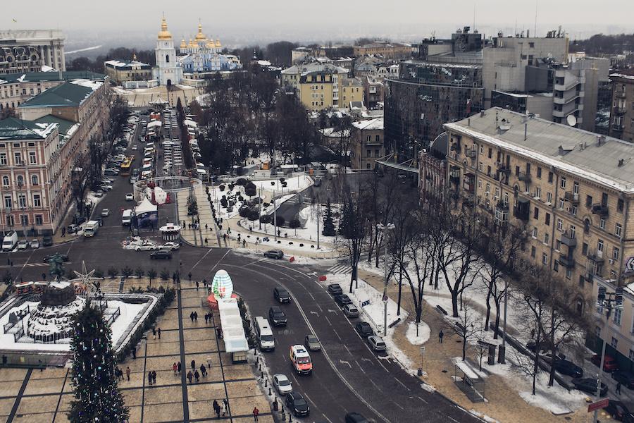 Innenstadt Kiews, St. Michaelskloster im Hintergrund