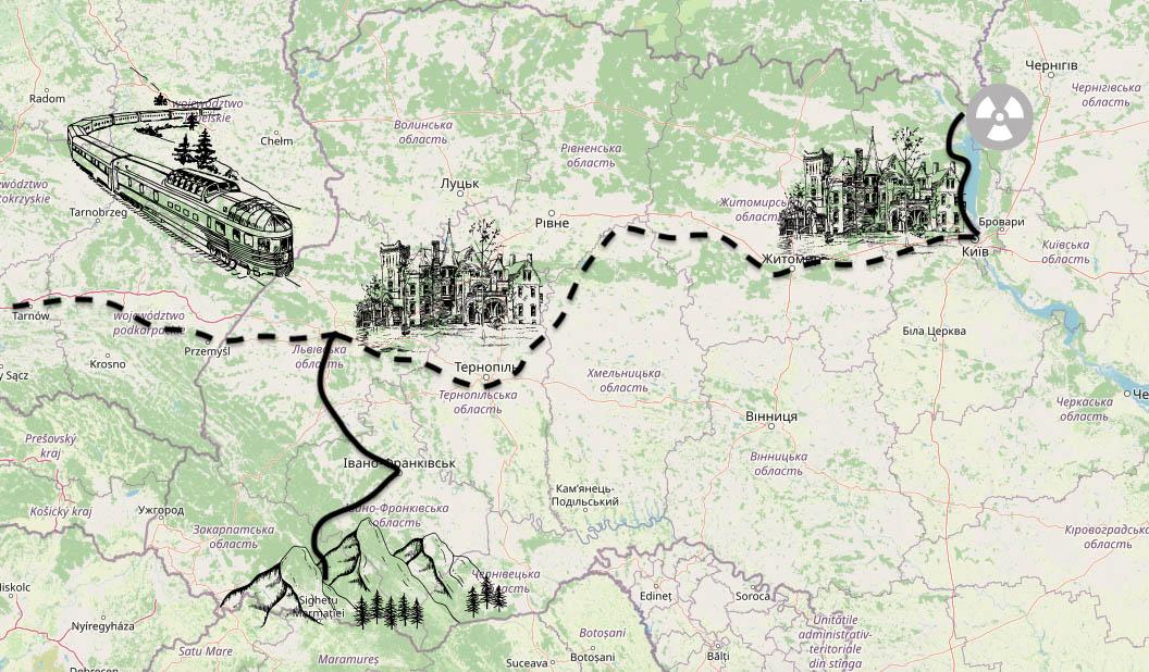 Karte unseres Winterabenteuers Ukraine