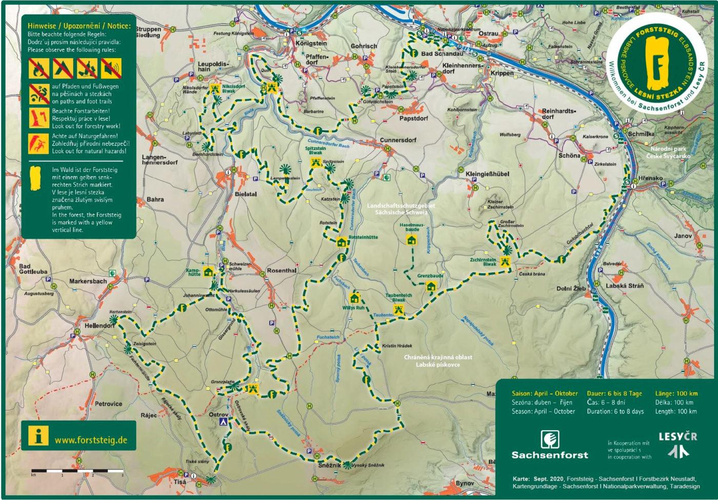 Übersichtskarte des Forststeigs