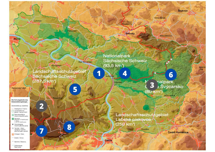 Lage der Alternativen in der Sächsischen und Böhmischen Schweiz
