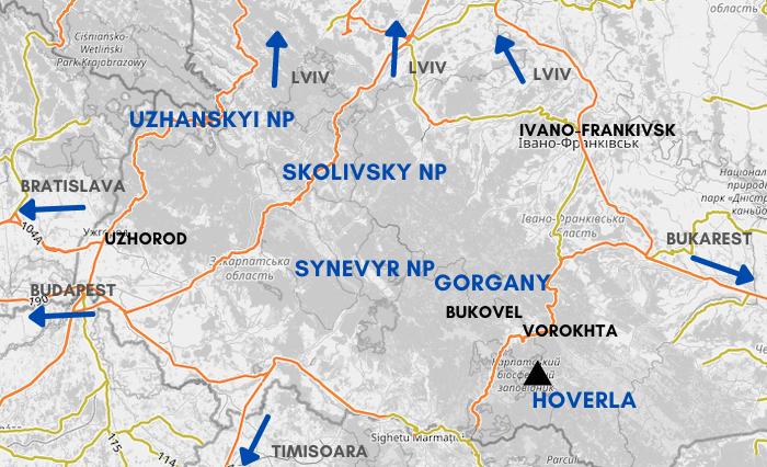 Übersichtskarte ukrainischen Karpaten