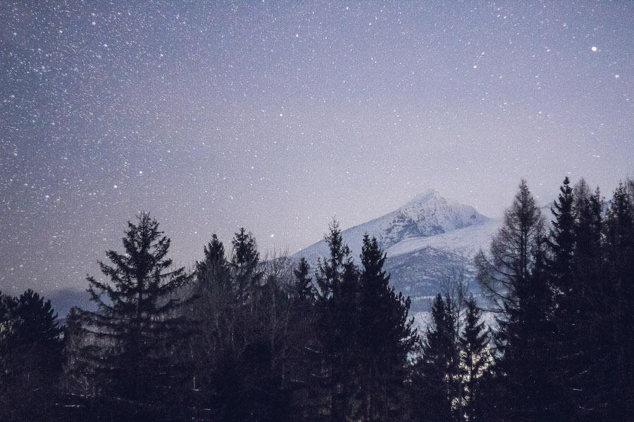 Kriváň Gipfel in der Nacht, Hohe Tatra