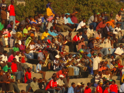 a brass band plays on the tribune during Zimbabwe's Premier league match Mutare vs. Bulawayo